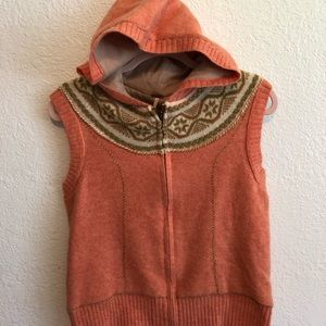 FREE PEOPLE Sleeveless Hooded Wool Hooded Vest
